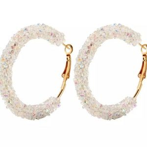 Gorgeous White Sparkly Hoop Earrings
